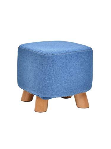 FVGH kruk met 4 poten van hout, kleine kruk, gevoerd, schoenenkruk, voetenbank voor woonkamer en slaapkamer (kleur: rooster) Blauw