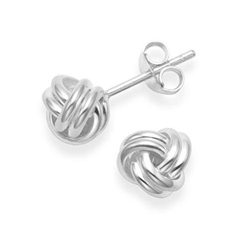 Sterling Silver Wool Knot Earrings - SIZE: 6mm. Gift Boxed silver wool Knot Stud Earrings. 5198