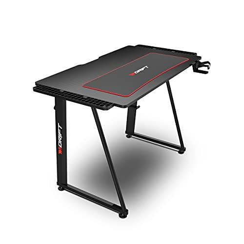 Drift Gaming -DRDZ75- Mesa Gaming con tablero de fibra de carbono cubierto por un alfombrilla full size, soporte para tazas y auriculares, patas regulables, color negro
