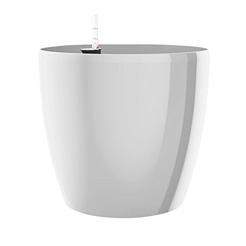 Emsa Blumenkübel für den Innenbereich, Selbstbewässerungssystem, Ø 30 cm, Weiß, Casa Brilliant, 517567