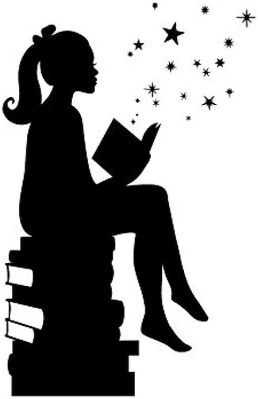 Girl Reading Books Magic Facing Right Small Black Vinyl Wall Art Decal For Homes Offices Kids Rooms Nurseries Schools High Schools Colleges Universities