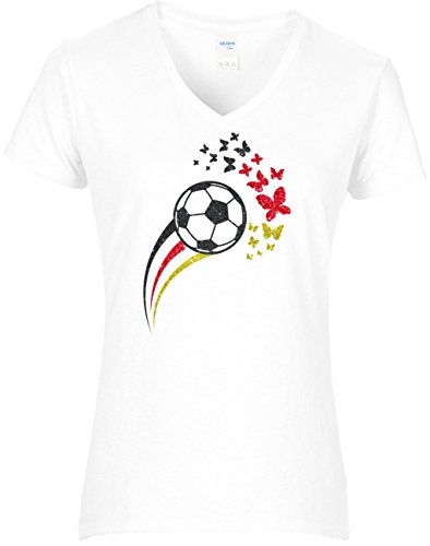 Damen WM Shirt statt Trikot Fussball Glitzeraufdruck Schmetterlinge Deutschland Farben Germany 2018, T-Shirt, Grösse L, Weiss