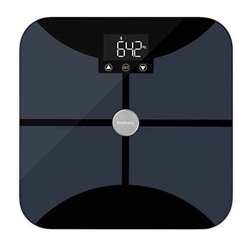 Medisana BS 652 Körperanalysewaage bis 180 kg mit W-LAN oder Bluetooth, Personenwaage zur Messung von Körperfett, Körperwasser, Muskelmasse und Knochengewicht mit VitaDock+ Körperanalyse App