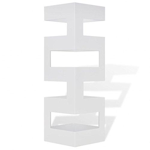 Festnight Portaombrelli e bastoni da Passeggio Acciaio Quadrato Bianco 48,5 cm