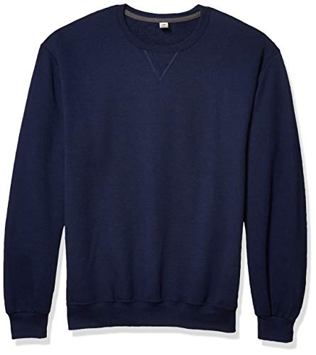 Fruit of the Loom Men's Fleece Crew Sweatshirt, Navy, Large