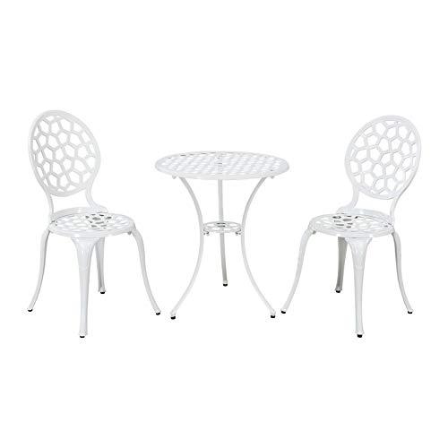 Trueshoppping - Juego de Bistró Exterior de Aluminio Fundido Blanco de 2 Sillas y Mesa Redonda - Muebles de Jardín para Patio, Terraza - Duradero, Resistente a la Intemperie e Inoxidable