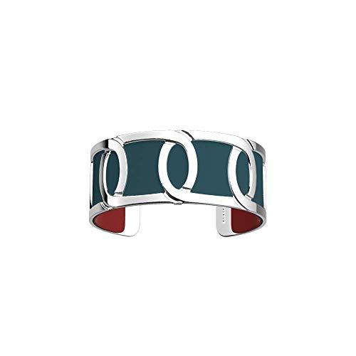 Les Georgettes - Bundle - Armreif Silber 25mm Maillon inkl. Ledereinsatz Petrol/Himbeer Rot