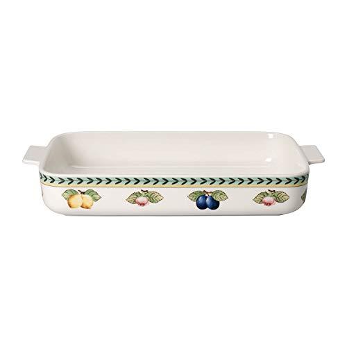Villeroy & Boch French Garden Moule de cuisson, 34x24 cm, Porcelaine Premium, Blanc/Multicolore