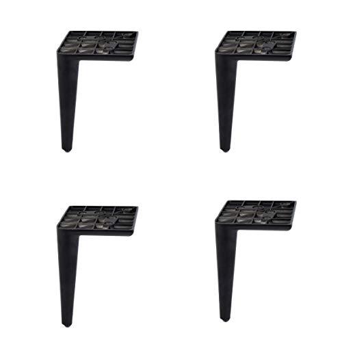 Patas de metal aliuminio negro mate para sofá (juego de 4), H-153 mm, 107 x 107 mm