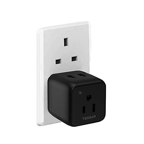 UK Ireland Scotland Power Adapter, TESSAN Type G Adapter Plug with 1 American Outlet 2 USB, Travel Charger for US to British England London Irish Dubai Hong Kong