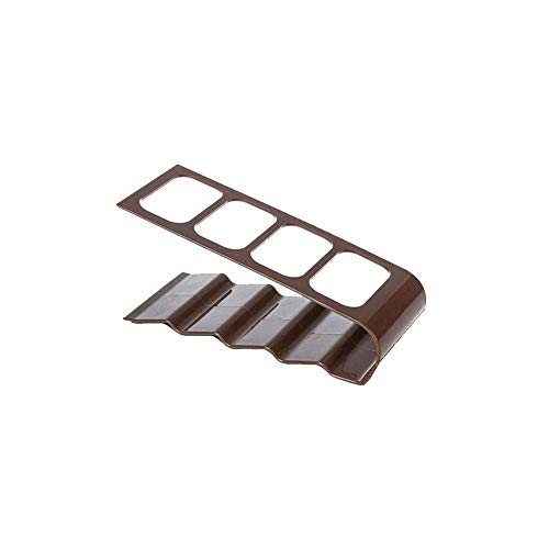 N-K Soporte de plástico para TV de escritorio con 4 rejillas, caja de almacenamiento de medios, organizador de control remoto, color marrón creativo y exquisito trabajo