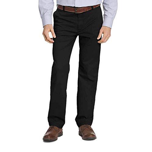 IZOD Men's Big & Tall Advantage Performance Flat Front Straight Fit Chino Pant, Black, 54W X 29L