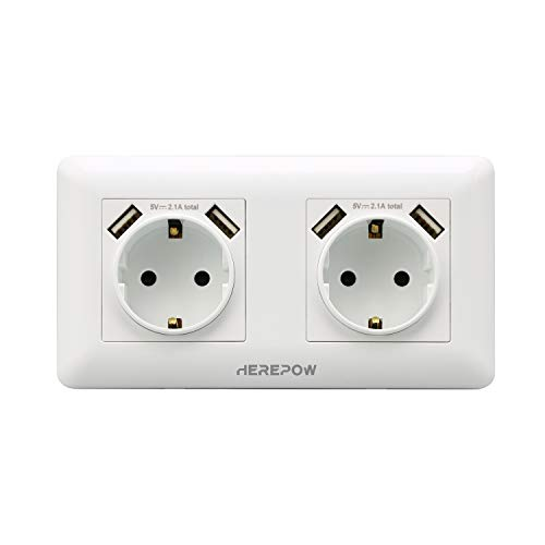 Los enchufes dobles tienen cuatro salidas de interfaz USB, los enchufes de pared y los enchufes integrados se utilizan en el hogar, la oficina y otros escenarios (Blanco)