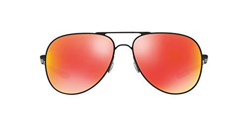 Oakley Unisex-Erwachsene 0Oo Elmont M & L 411904 60 Sonnenbrille, Schwarz (Satin Black/Rubyiridium)