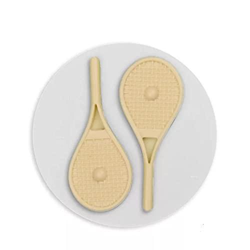 SUNSK Raquetas de Tenis y Pelotas Fondant Molde de Silicona DIY Pastelería Postre Encaje Decoración de Pasteles Cocina Herramienta para Hornear