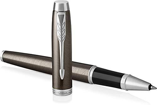 Parker IM - Bolígrafo Roller, Punto fino, color Marrón (Dark Espresso Chrome trim)