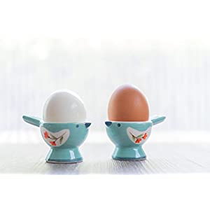WD-Set of 2 Pcs Cute Bird Shape Ceramic soft or Hard boiled egg cup holder (Egg holder) – for Breakfast Brunch,kitchenware, home kitchen decoration or even a gift Sky color with cutely package.