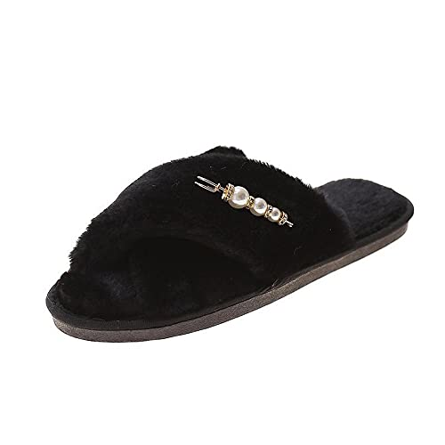 xinghui Chanclas Zapatos de Mohell Cross Home Wear Slippers Planos-Negro_37