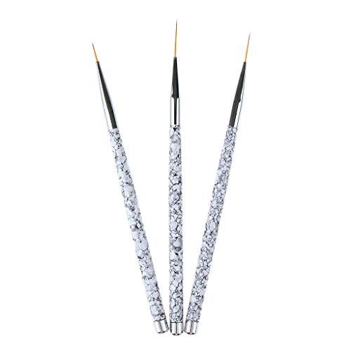SM SunniMix Pinceau Peinture Professionnel Détail Pinceau Pour Acrylique Huile Aquarelle Nail Art Ensemble,3 Pièces