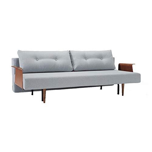 Innovation Recast Plus Slaapbank Gestell Stahl schwarz/Beine Holz dunkel/Armlehnen Lichtblauw grijs/stof 552 Soft Pacific Pearl