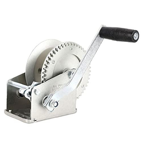 Mano cabrestante manual Torno del barco Negro correa de mano manivela del cabrestante con dos vías ajustable del torno de remolque de plata