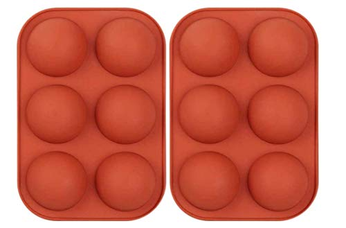 COOTA Stampi In Silicone A 6 Cavità , 3 Confezioni Stampi A Mezza Sfera Per Dolci,Fare Cioccolato, Gelatina, Mousse A Cupola, Dolci Natalizi (2pcs, Rosso)