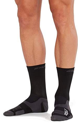 2XU Unisex's Vectr Ultralight Cushion Crew Socks, Black/Titanium, Large