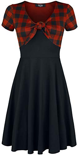 Rock Rebel by EMP Schluppen-Kleid mit Karomuster Rock Rebel Frauen Kurzes Kleid schwarz/rot S