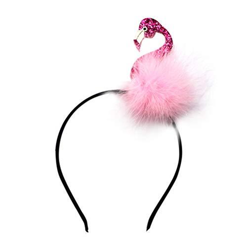 Amosfun Haarreif Stirnband Flamingo Kostüm Haarschmuck Karneval Fasching für Mädchen Erwachsene und Kinder (Lila rosa)