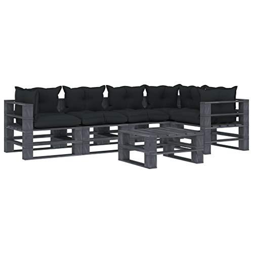 FAMIROSA Muebles de palés de jardín 6 pzas Madera Cojines Gris Antracita (126,4kg)-2527