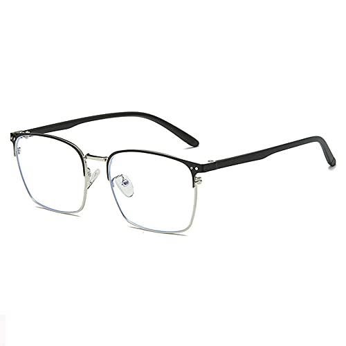 LSJA0 gafas luz azul transparentees anti-fatiga UV Anti-reflexión Placa plana Gafas de juego-Plata