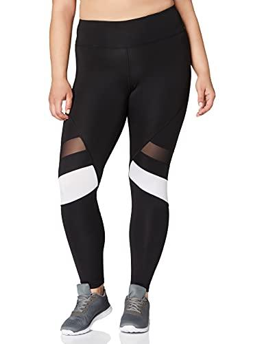 Marca Amazon - AURIQUE Mallas para Correr por el Tobillo de Tiro Alto Mujer, Negro (Black/White), 42, Label:L