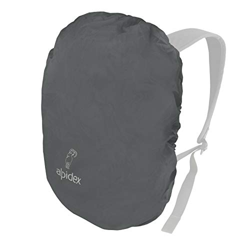 ALPIDEX Backpack Rain Cover Waterproof Drawstring Integrated Pouch Various Sizes, Colour:Grey, Volume:6-15 Liter