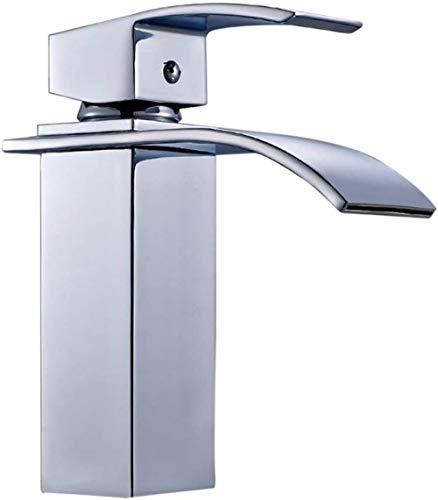 ASFDS Grifo de Lavabo en Cascada Mezclador de Lavabo de sobre encimera Grifo de baño de una manija y un Orificio Cuadrado en latón Cromado