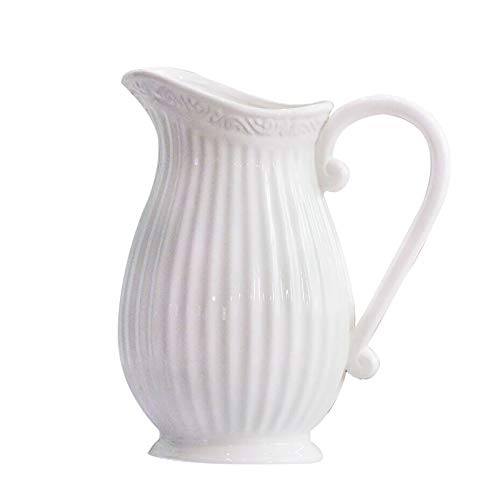 zjyfyfyf Jarrón de Leche de cerámica de Jarra primitiva Puede plantador de Flores rústicas Elegantes para jardín y decoración del hogar (Color : Blanco)