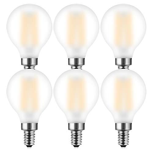 MZYOYO Bombilla LED con Filamento E14,Estilo Retro,4W P45/G45, luz Blanca Cálida,Sustituye a Bombillas Incandescentes de 40W, Blanco Cálido 2700K,400lm,Mate,no regulable,paquete de 6 unidades