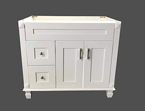 White Shaker Solid Wood Single Bathroom Vanity Base Cabinet 36' W x 21' D x 32' H (Left Drawers)