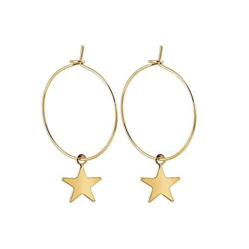 DBSUFV Tendencia de moda Pendientes de estrella pentagonales simples Pendientes exagerados de estrella de círculo grande para mujeres y niñas