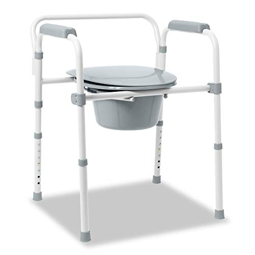 Medline Steel Bedside Commode, 3-in-1, Folding Frame, No Tools Needed, Pail and Lid and Splash Guard Included, Clip on Seat for Easy Cleaning, 400lb Capacity,