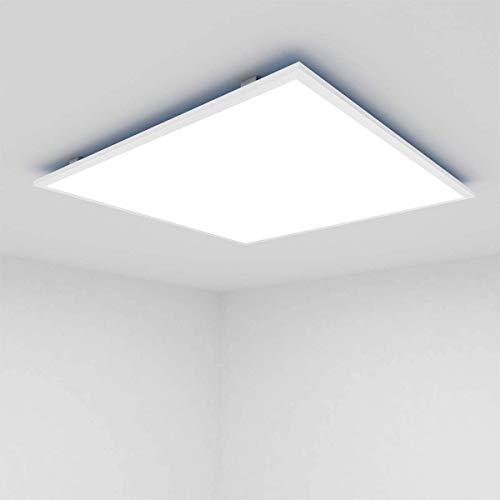 OUBO LED Panel 30x30cm Kaltweiß 6000K 1600 Lumen Weißrahmen quadratisch 18W LED Wandleuchte Deckenleuchte für Labors, Küche, Badezimmer, Hobbyräume, inkl. Trafo und Anbauwinkel