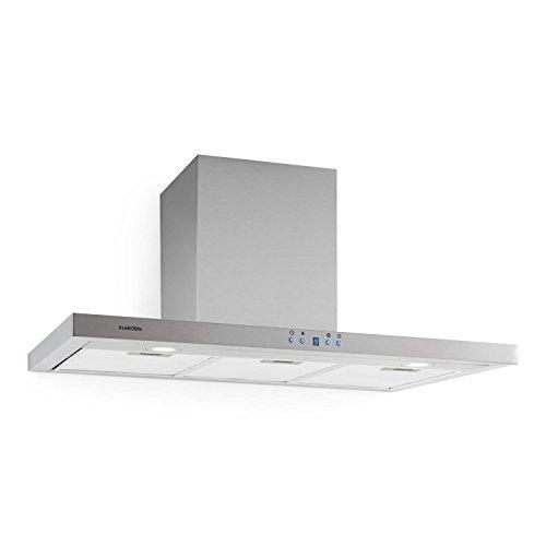 Klarstein Limelight Cappa Aspirante da cucina da parete in acciaio (90 cm, capacità di aspirazione pari a 620m³/h, illuminazione alogena attivabile, Timer, 3 x filtri antigrasso) - argento