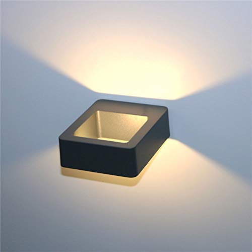 Yfnhy LED-vägglampa, 7 W varmvit kall vit ljus innervägglampa, vattentät vägglampa 7 W 2 st trädgårdsportal-Ip65 utomhus varm vit/grå