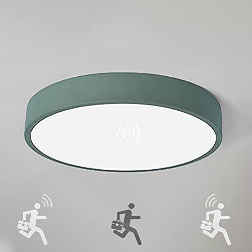 LED Forma rotonda Plafoniera 18W con sensore di luce diurna Lampada da Soffitto con Sensore Movimento Luce bianca fredda Lamp induzione per Hall Scale Portico Garage Balcone Ripostiglio Ø30cm(verde)