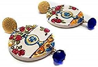 orecchini siciliani, gioielli sicilia, orecchini ceramica, orecchini agata, perle di fiume, bellissimi, pezzo unico, ceram...