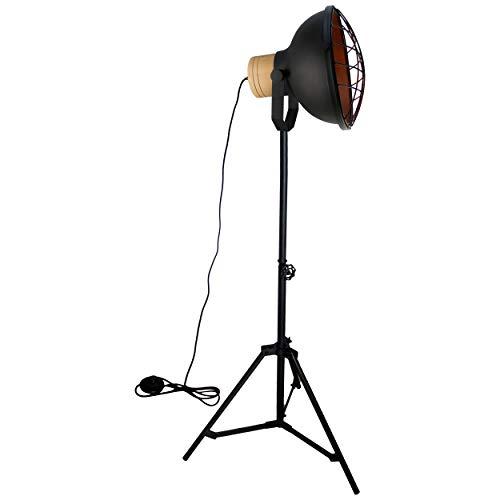 Brilliant Emma staande lamp, 1 vlg, 1,7 m, decoratieve vloerlamp in hoogte verstelbaar, zwenkbaar, zwart, korund industriële look, 1 x E27 geschikt voor normale lampen tot maximaal 60 W.