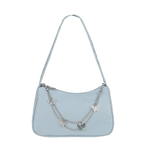 Lynn&Light para Bolso Mujer Moda Mujer PU Cuero Pequeño Hombro Debajo del Brazo Señoras Vintage Mariposa Cadena Color Puro Cremallera Mini Bolso Azul