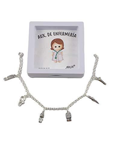 pulseras plata ley mujer auxiliar enfermería (20cm)