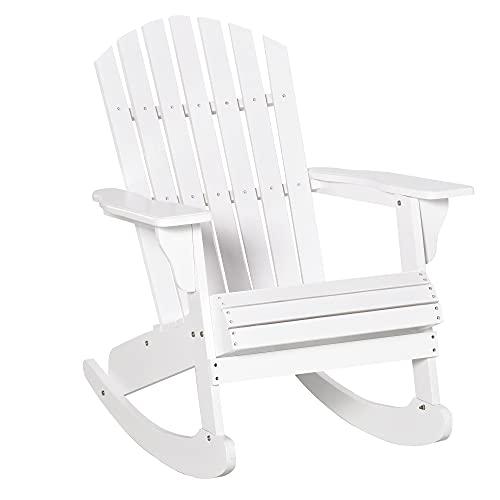 Outsunny Fauteuil de Jardin Adirondack à Bascule Rocking Chair Style néo-rétro Assise Dossier Ergonomique Bois Sapin traité Peint Blanc