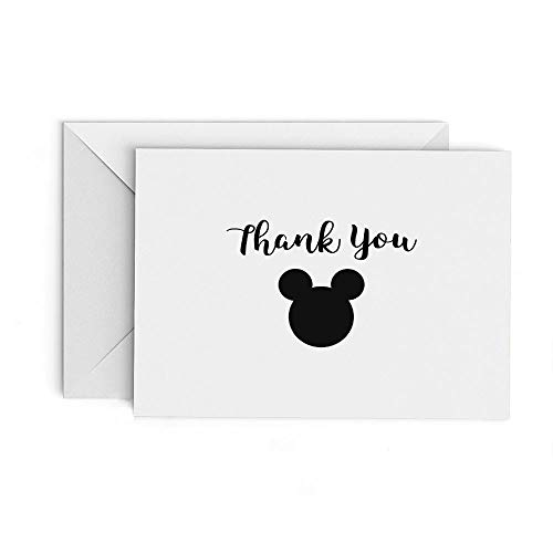 Mickey Ears Thank You Cards - set of 20 Cards with Envelopes