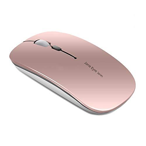 Mouse Wireless Ricaricabile, Coener Senza Fili Silenzioso 2,4G 1600DPI Mouse Portatile da Viaggio Ottico con Ricevitore USB per Windows 10 8 7 XP Vista PC Mac (Oro Rosa)